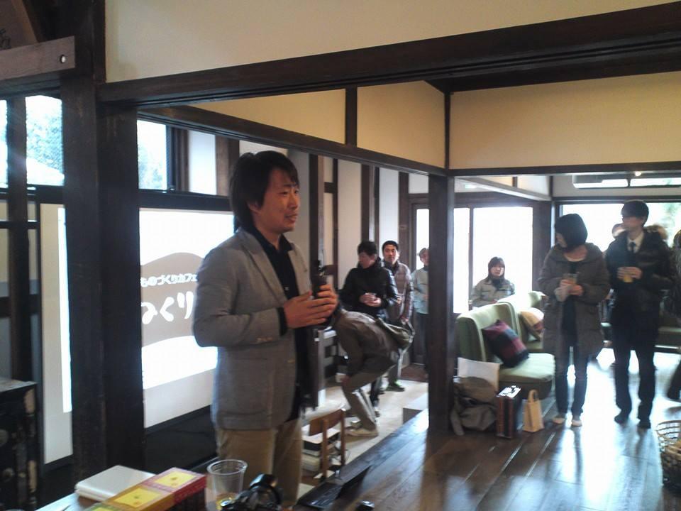 かわらばん記者をやってくれている、EWMファクトリーの福島さんが挨拶!緊張されていました(笑)