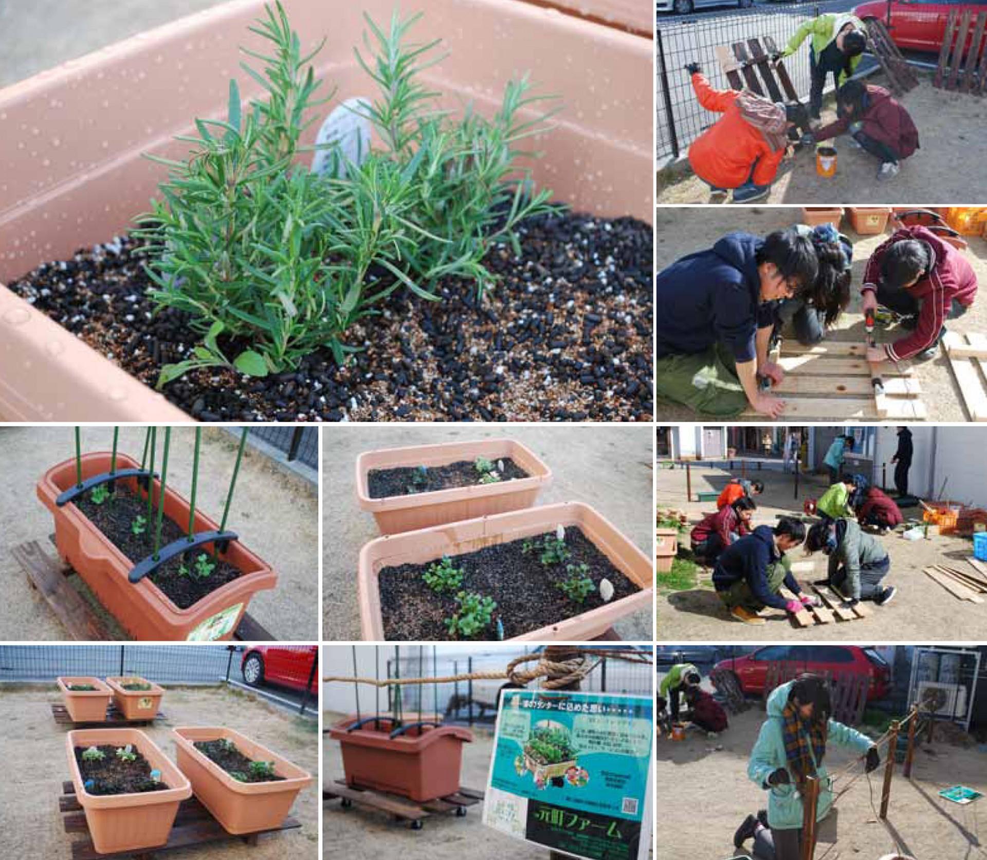 苗や種を植えるだけでなく、プランターを設置する台も自分達の手で。