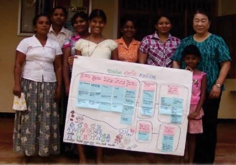 ▲ 理事長の竹下さんは、県職員時代の「農業の振興と農家・農村の活性化」の仕事の経験を活かし、スリランカの農村の女性たちの経済的自立を目指し、直売所づくりなど、さまざまな活動に取り組んでいます。