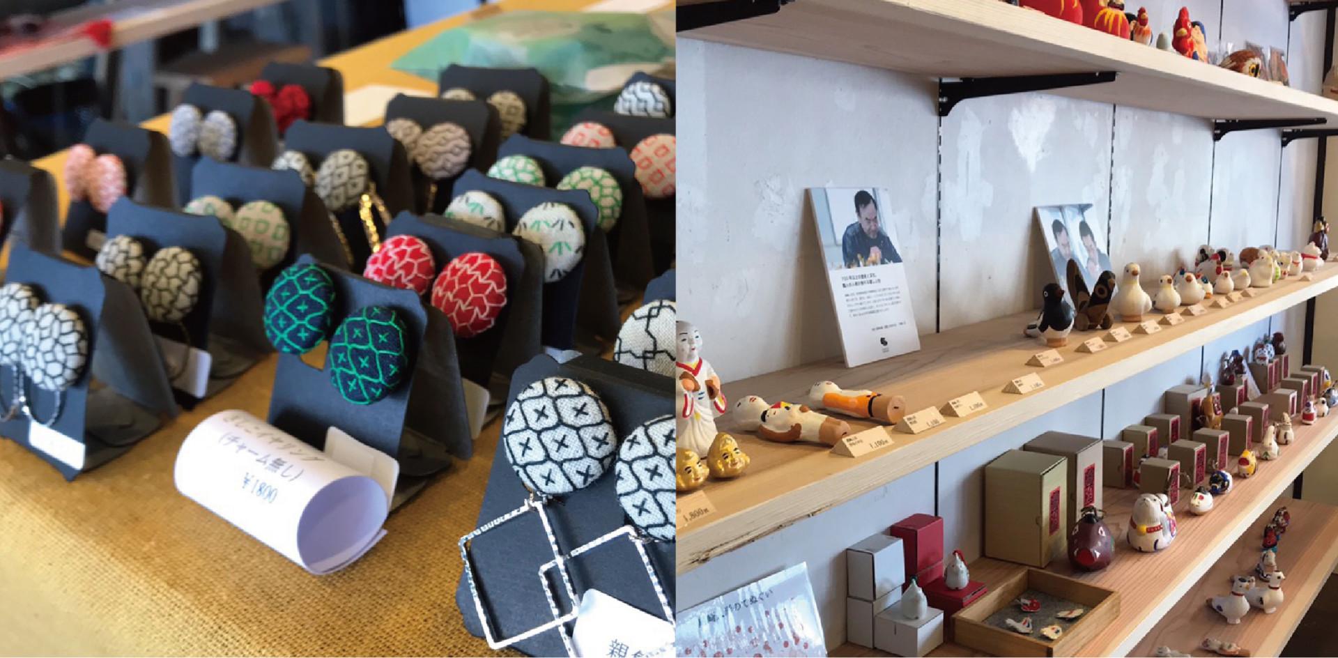伝統技術さしこのイヤリング。他にも 佐賀県各地の歴史ある郷土玩具が並びます