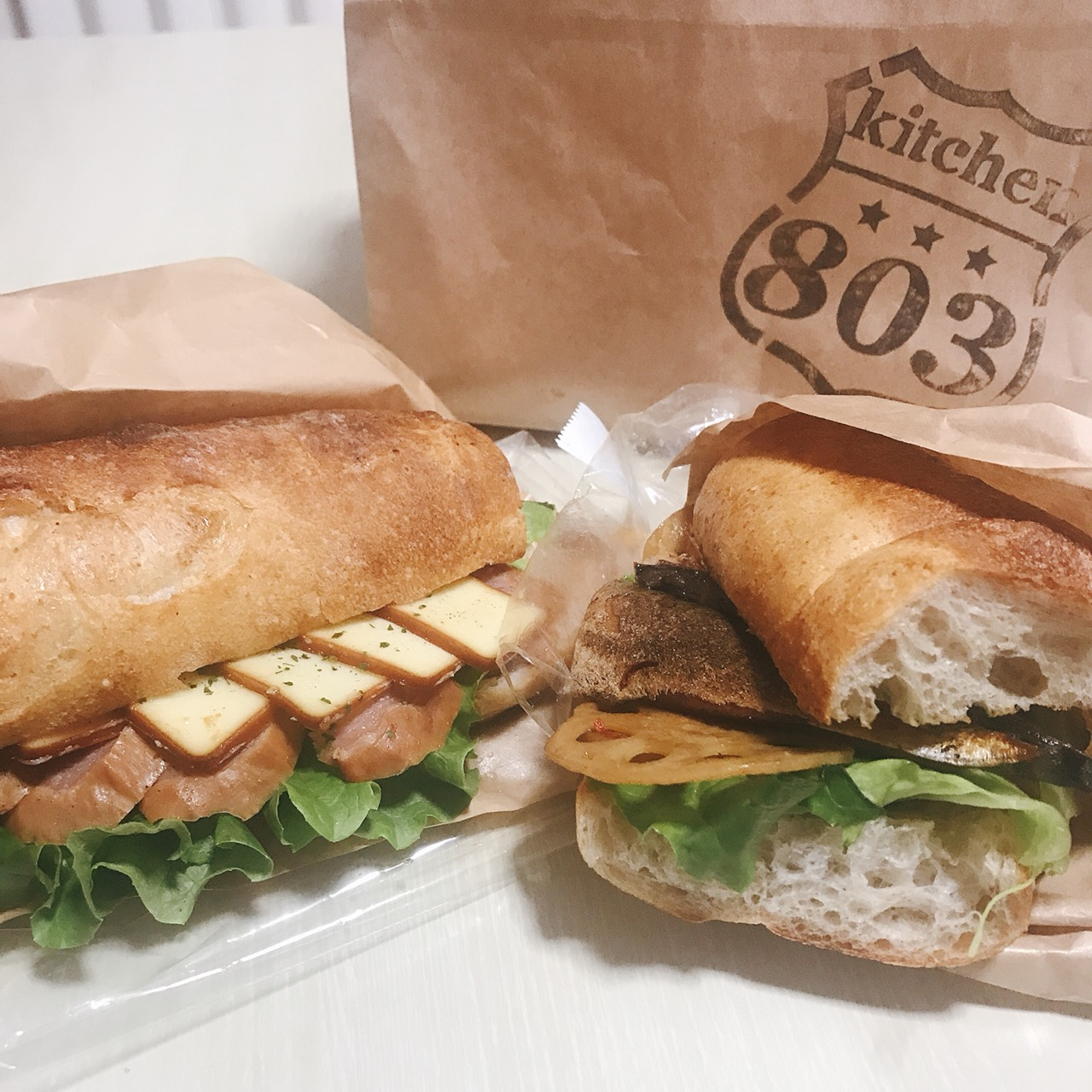 燻製サンド(ターキーとチーズ)380円