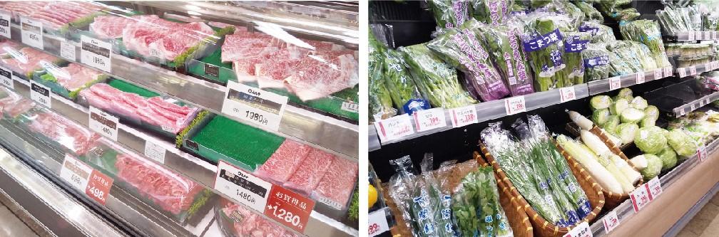 (左)たまには佐賀牛に舌鼓 (右)道の駅直送の新鮮な野菜